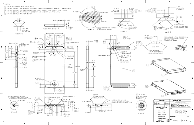 iPhone 5s & iPhone SE Dimensional Drawing
