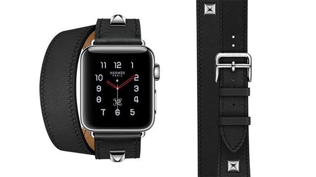 Apple Watch Hermès - 38mmケース用ヴォー・スウィフト(黒)ドゥブルトゥールメドールレザーストラップ