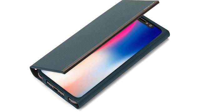iPhone X用オールPUレザーフリップカバー