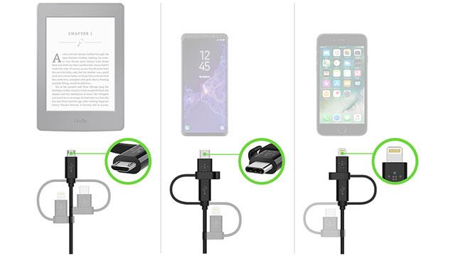 ベルキン ユニバーサルケーブル(Lightning、 micro-USB、 USB-Cコネクタ付き)