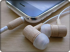 Natural wooden earphone