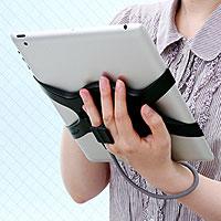 iPad2くるくるハンドル(ストラップ・スタンドパーツ付き)(200-PDA040BK)