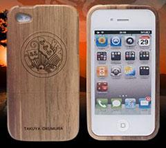 iPhone4/4S専用 木製ケース 平清盛 家紋刻印バージョン