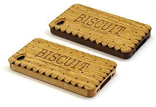 カーヴィング・デザイン iPhone 4/4S用ビスケット型木製ケース