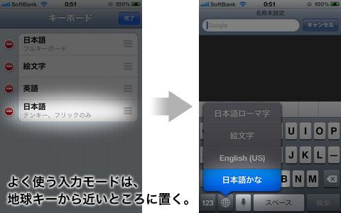地球のキーをフリックして素早くキーボードを切り替える(iPhone/iPod touch/iPad)