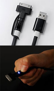 Super Tangle-free flat design cable with LED light (Dockコネクタ & Micro USB)