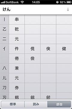 iPhoneの日本語変換・部首