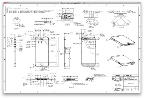 iPhone 5の寸法図面PDF