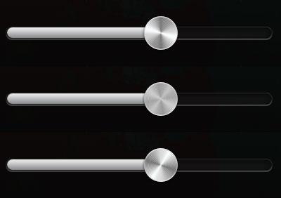 ミュージックアプリケーションの金属調スライダ