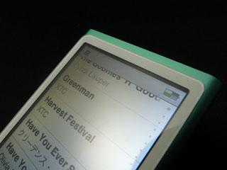 第7世代iPod nanoの画面上部