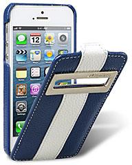 iPhone 5用高級本革ケース(Jacka ID type/Limited Edition・ダークブルーxホワイト)