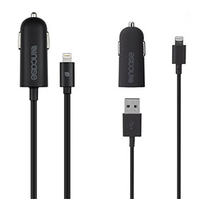 Incase Mini Car Charger with Lightning Connector/Lightning Cable (Black)