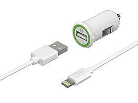 Colorant Car Charger and Charge & Sync Lightning Cable Set