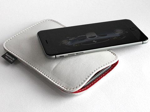 職人が作るオイルドレザースリーブ for iPhone(スノウホワイトxレッド)