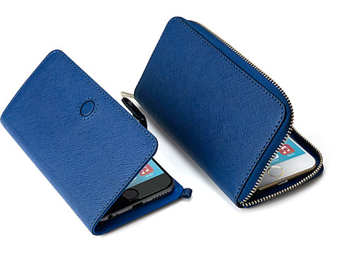 Real leather  CRÊPE  Brand Blue Zipper Round Style/Magnet belt closure for iPhone 6/6 Plus