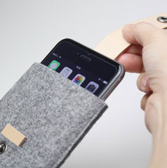 Charbonize レザー & フェルト ウォレットタイプケース for iPhone 6/6 Plus