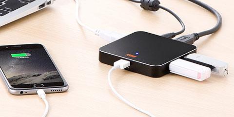 USB3.0 USBハブ 4ポート 2.1A充電専用ポート付 セルフパワー バスパワー(400-HUB028BKAZ)