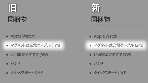 Apple Watchの同梱物の変更