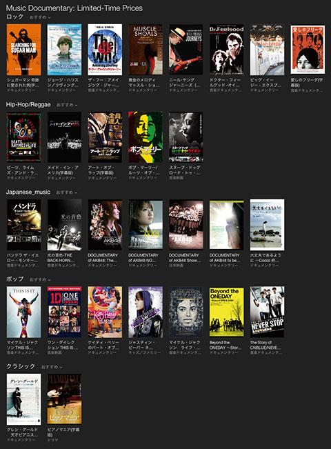 iTunes Store 音楽ドキュメンタリー 期間限定価格