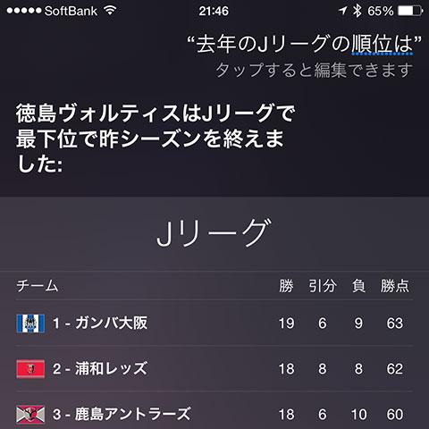 SiriにJリーグの情報を聞く