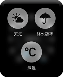 天気アプリの強く押した画面
