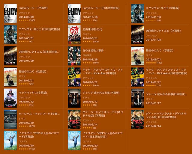 iTunes Store 人気映画100円レンタル 対象作品