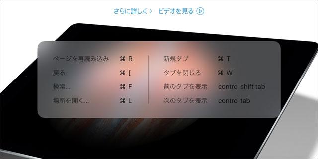 Smart Keyboardのキーボードショートカット