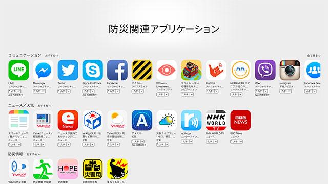 App Store 防災関連アプリケーション