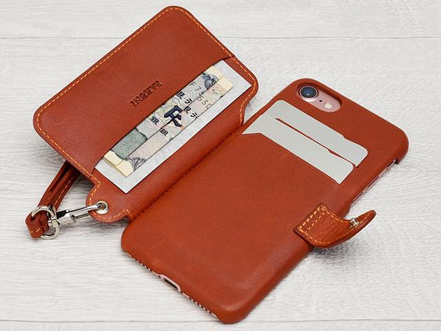 iPhone 7用RAKUNI(ラクニ)本革 背面ポケット型ケース