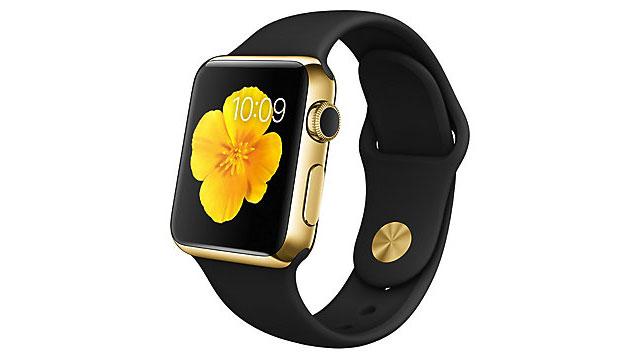 Apple Watch Edition 38mm 18Kイエローゴールドケースとブラックスポーツバンド