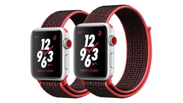 Apple Watch Nike+ シルバーアルミニウムケースとブライトクリムゾン/ブラックNikeスポーツループ