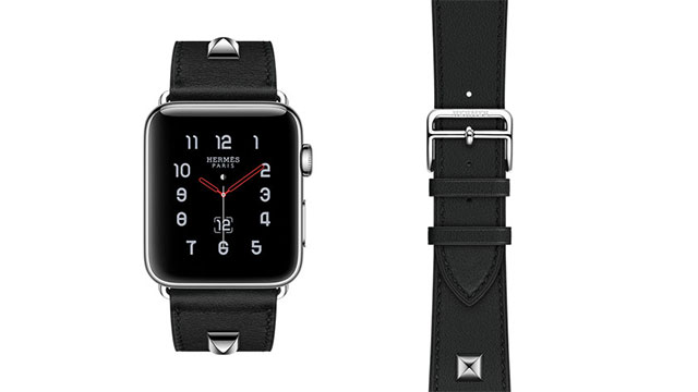 Apple Watch Hermès - 42mmケース用ヴォー・スウィフト(黒)シンプルトゥールメドールレザーストラップ
