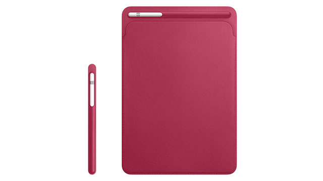 Apple Pencilケース/10.5インチiPadPro用レザースリーブ ピンクフクシア