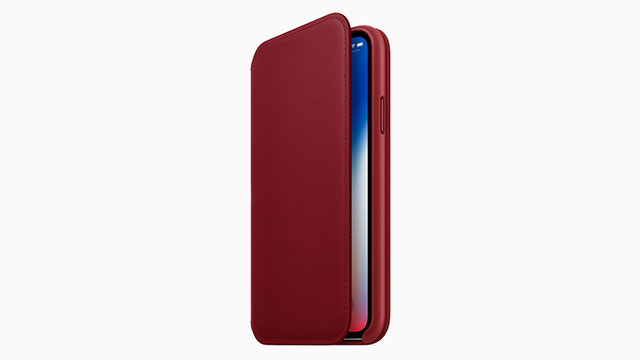 iPhone Xレザーフォリオ PRODUCT RED
