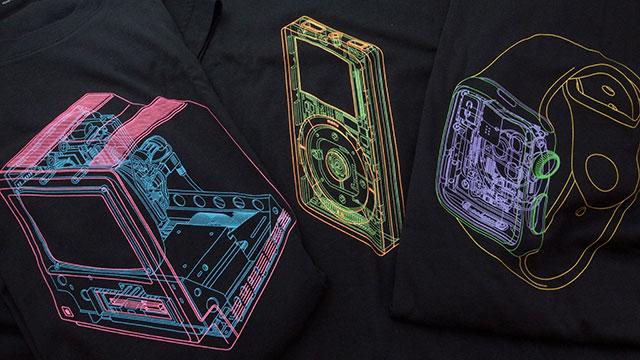 Apple製品の内部構造図Tシャツ