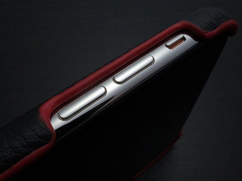GRAMAS Italian Genuine Leather Shell Case for iPhone XS Max Black x Red