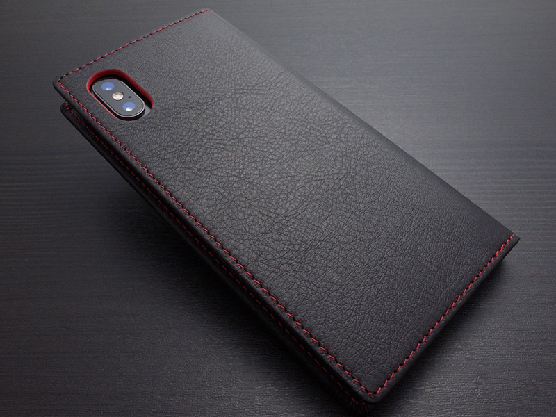 GRAMAS Italian Genuine Leather Book Case for iPhone X/XS Black x Red