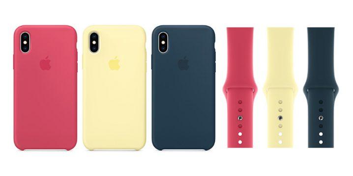 iPhone XS Maxシリコーンケース・Apple Watchスポーツバンド ハイビスカス/メローイエロー/パシフィックグリーン