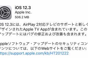 iOS 12.3 ソフトウェア・アップデート