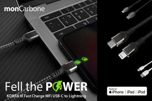 monCarbone KOBRA III Fast Charge MFi USB-C to Lightning cable