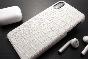 GRAMAS Croco Patterned Genuine Leather Shell Case for iPhone XS X White