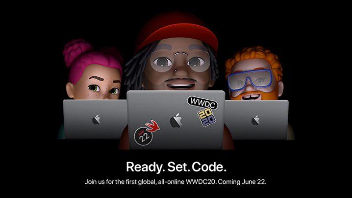 WWDC 2020のステッカーを貼ったMacBookに向かう開発者たちのイラスト。キャッチコピー「Ready. Set. Code.」