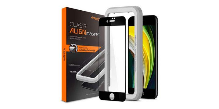 iPhone SE用ガラスフィルム Spigen Align Master FC