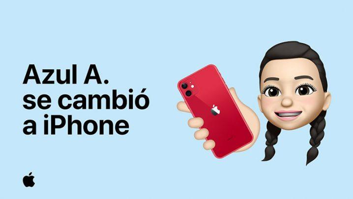 iPhoneを持ったミー文字のイメージ