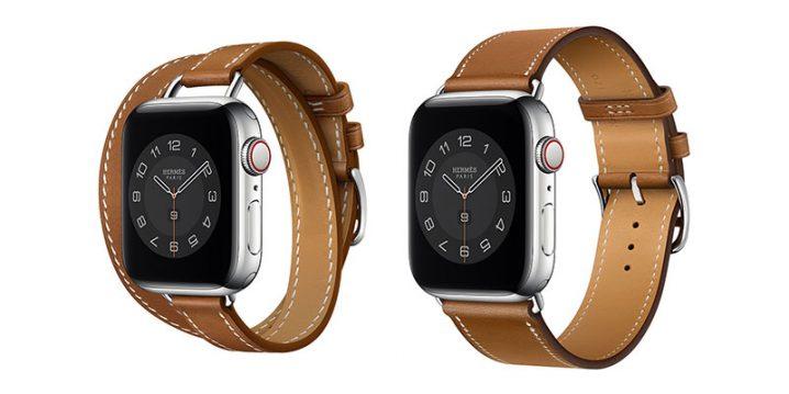 Apple Watch Hermès - 40mmケース用ヴォー・バレニア(フォーヴ)アトラージュ・ドゥブルトゥール/シンプルトゥール レザーストラップ