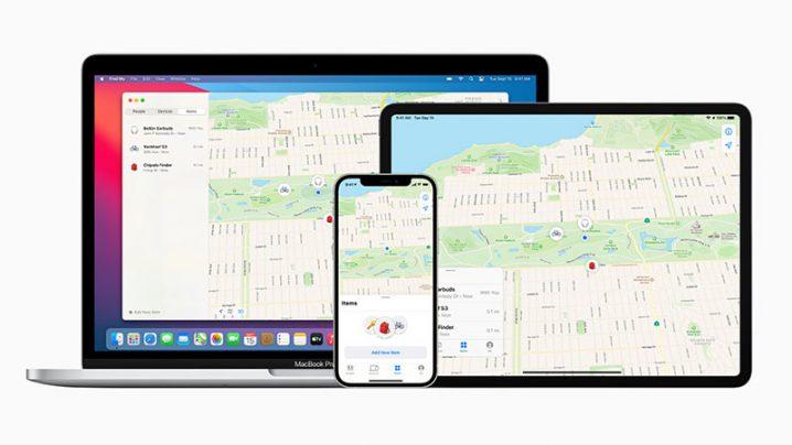 iPhone、iPad、Macの「探す」アプリの画面