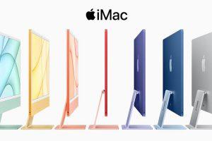 側面を見せて並んでいる、カラフルな7色のiMac