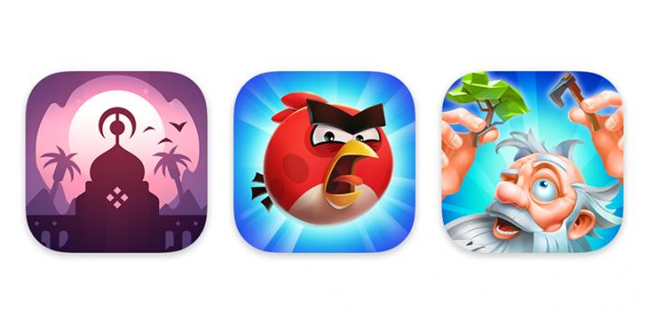 Apple Arcadeの3本の新作ゲームのアイコン