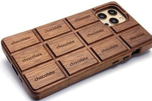 iPhone 12/12 Pro用 板チョコ型木製ケース