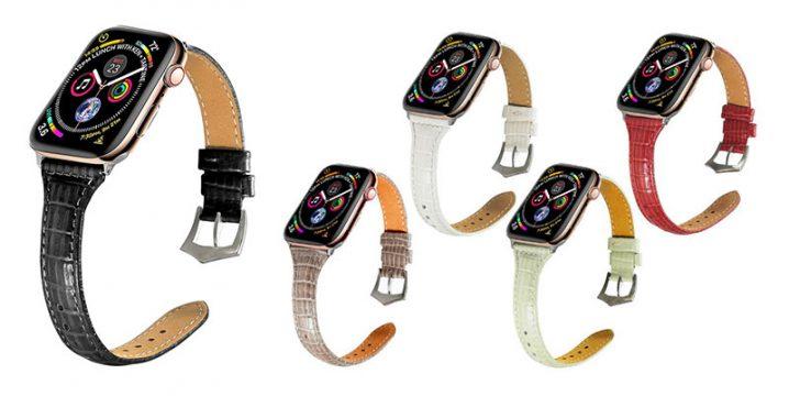 Apple Watch用クロコ調PUレザーベルト